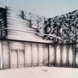 "©2012 ""Contemporary Demo l"", 7 x 3"", standard writing pencil on paper, original"