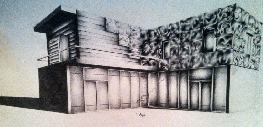 "©2012 ""Contemporary Demo l"", 7 x 3"", standard writing pencil on paper, original"