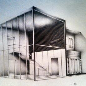 "©2013 ""Contemporary Demo ll"", 7 x 4"", standard writing pencil on paper, original"