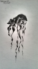 "©2012 ""Contemplative"", 1 x 3"", standard writing pencil on paper, original figurative"