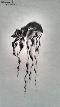 "©2012 ""Contemplative"", 1 x 3"", standard writing pencil on paper, original figurative"