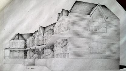 "© 2015 ""Mansion"", standard writing pencil on paper, 14"" x 8"", original"