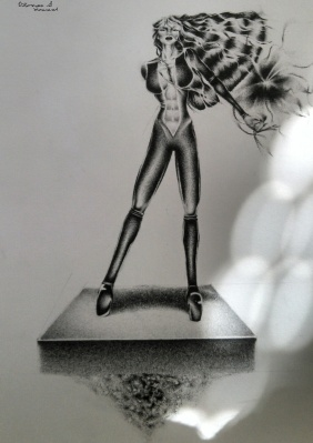"©2014 ""Iron Rose"", 3.5 x 8"", standard writing pencil on paper, original"