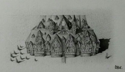"© 2016 ""Micro Mountain Mansion"", standard writing pencil on paper, 2.5″ x 1.25″, original design"