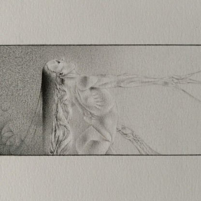 "©2017 ""Thread"", 6.5""x 2.5"", standard writing pencil on paper, original.   Available on: ArtPal 