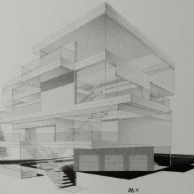 """© 2017 """"Party House"""", standard writing pencil on paper, 6.5″ x 5″, original design.  Available on: ArtPal 
